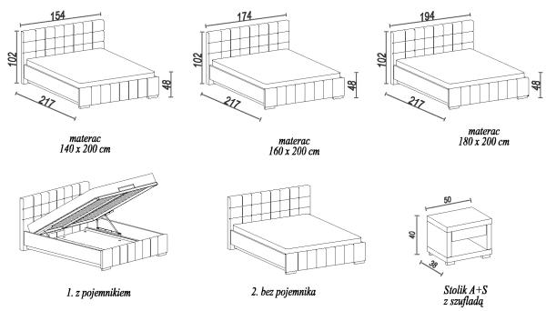 Łóżko Kalipso H wymiary zewnętrzne