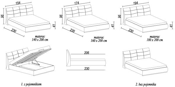 Wymiary zewnętrzne łóżko Apollo S