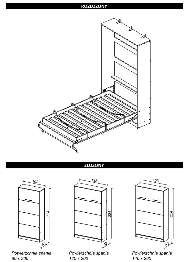 Wymiary łóżko w szafie pionowe
