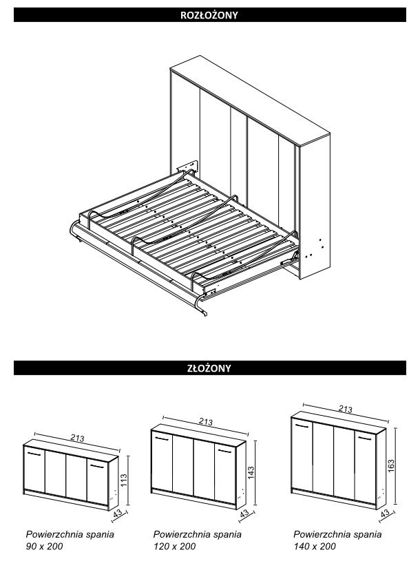 Wymiary łóżko w szafie poziome